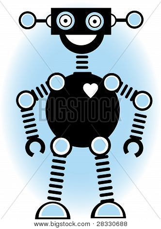 Robot Silhouette Cartoon Outline Blue
