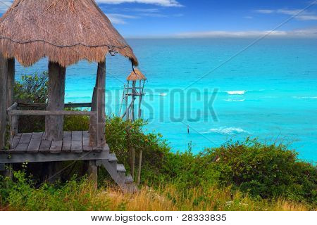 Caribbean zip line tyrolean turquoise sea in  Mexico