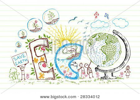 illustration of eco text with flowers in doodle style on paper