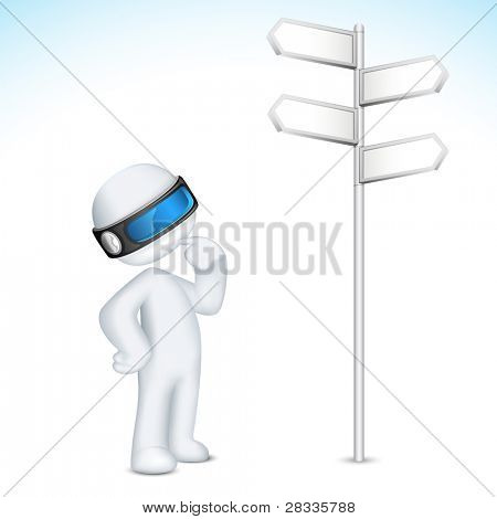 illustration of 3d confused man in vector fully scalable standing near direction board