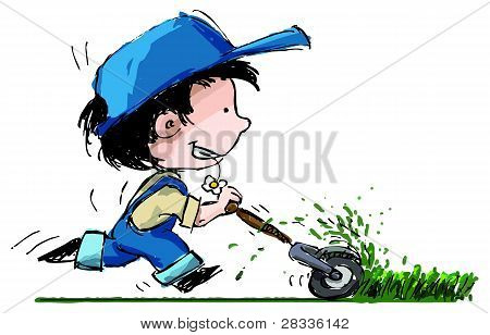 Smiling Boy Cutting Lawn