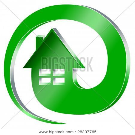 Clipart of green house symbol inside email symbol