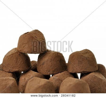 Chocolate Truffles On White Background , Close Up