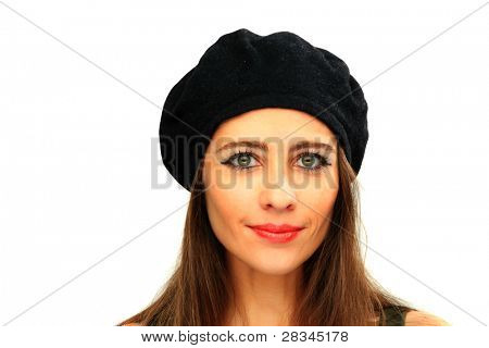 portrait of lovely girl wearing a beret hat