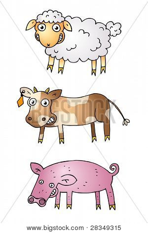 Cartoon illustration of sheep, cow and pig