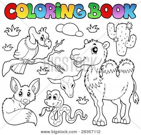 Colorir deserto animais de livro 1 - ilustração do vetor.