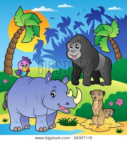 African scenery with animals 6 - vector illustration.