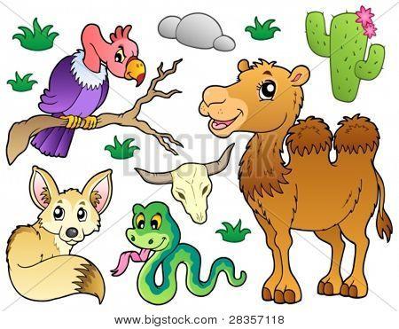 1 - Ilustração do vetor de recolha de animais do deserto.