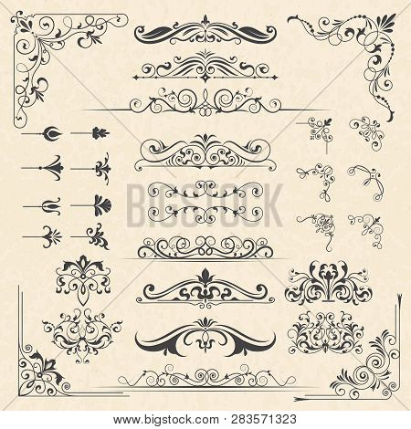 poster of Calligraphy Borders Corners. Classic Vintage Ornament Victorian Old Frames Vector Design Elements. I