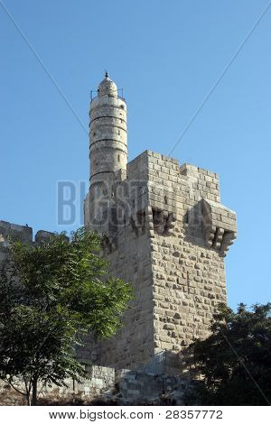 The Tower of David is an ancient citadel located near the Jaffa Gate entrance to the Old City of Jerusalem.