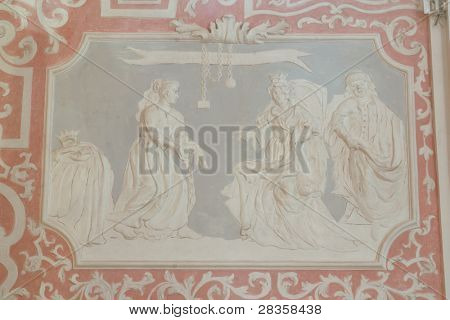 Martyrdom of St. Catherine, stucco in the church of St. Catherine in Zagreb