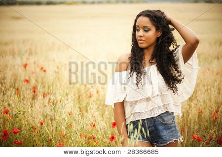 Young african woman outdoors