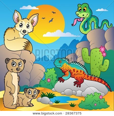 Cena com vários animais 4 - ilustração do vetor do deserto.