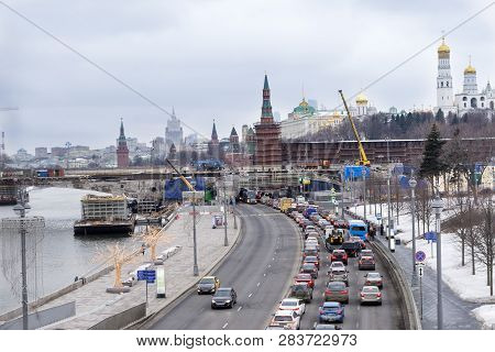Cars On The Embankment Of