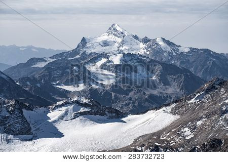 Snow Covered Greater Caucasus Mountains