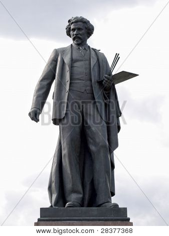 Monument Of Artist Repin In Bolotnaya Square, Moscow, Russia