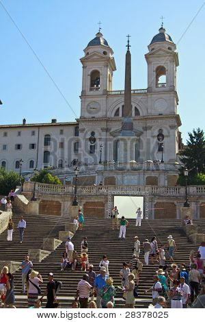 ROME - JULY 9: Tourists visit Piazza di Spagna on July 9, 2011 in Rome, Italy. The Scalinata is the widest staircase in Europe.