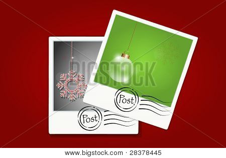 Vector illustration of a postcards on red background.