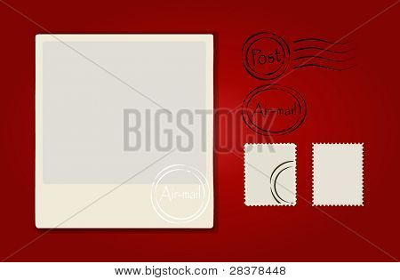Vector illustration of a blank grunge post stamps and postcard on red background.