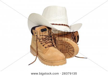 Hiking boots and hat isolated over white with clipping path.