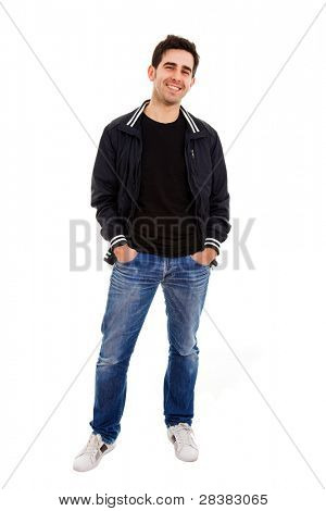 Smiling young man standing on white background