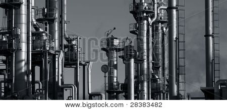 oil and gas refinery, duplex blue toning and panoramic view