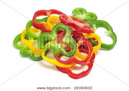some slices of yellow, red and green peppers