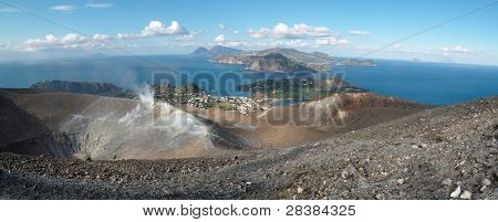 Grand crater of Vulcano and Eolian islands