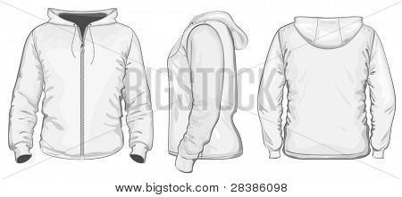 Vector. Men's hooded sweatshirt with zipper (back, front and side view)
