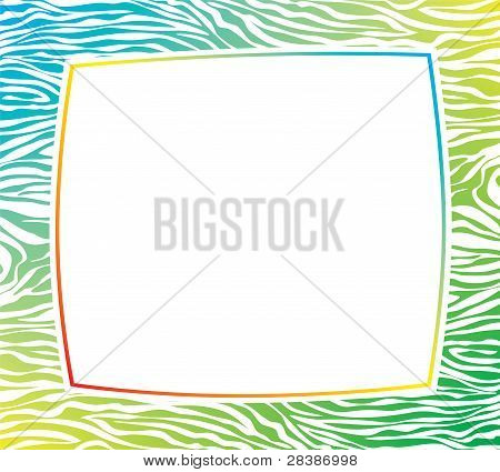 Vector Colorful Frame With Abstract Zebra Skin Texture