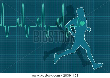 Vector Heartbeat Electrocardiogram And Running Man