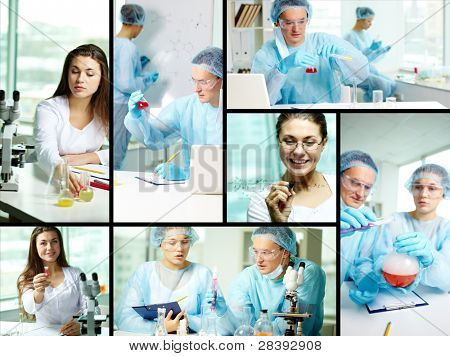 Collage of clinicians studying new substances in chemical laboratory