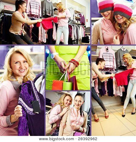 Collage hübsch Freunde beim Einkaufen im Kaufhaus