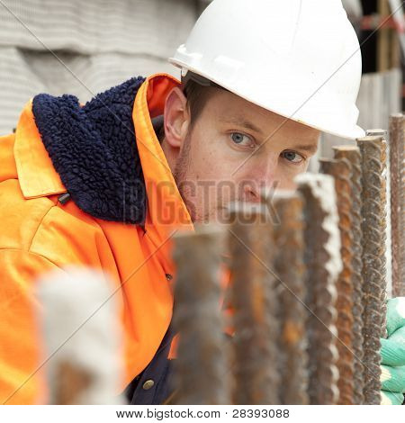 Manual Worker Looking At Construction, Road Construction