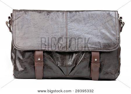 Brown men messenger bag over white
