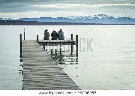 Three at the jetty - Starnberg Lake in Bavaria Germany