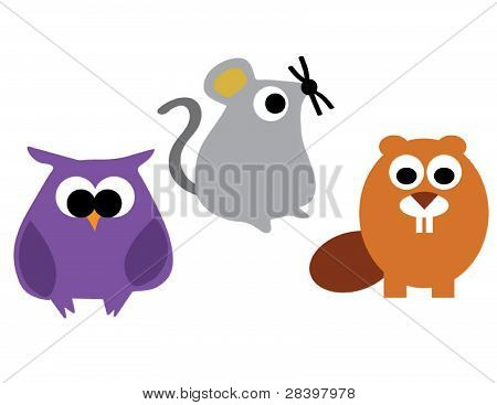 Woodland Creatures Owl Mouse Beaver