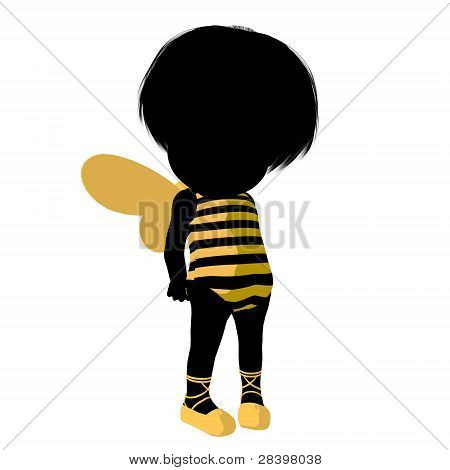 Little Bumble Bee Girl Illustration Silhouette