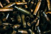 Pile Of Used Rifle Cartridges 7.62 Mm Caliber, Many Empty Bullet Shells, Assault Rifle Bullet Shell, poster