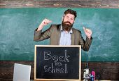 Teacher Or Educator Welcomes Inscription Back To School. Welcome Back To School. Full Of Energy Afte poster