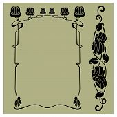 foto of art nouveau  - Vector frame plus bonus flower element in art nouveau style - JPG