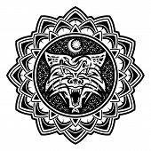 Black Scandinavian Tribal Tattoo. Vector Image Of A Furious Wolf On An Armor. Wolf Symbol Of Vikings poster