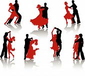stock photo of waltzing  - Silhouettes of the pairs dancing ballroom dances - JPG
