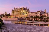 Sightseeing Of Mallorca. La Seu, The Gothic Medieval Cathedral Of Palma De Mallorca, Beautiful Night poster