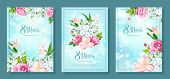 Happy International Womens Day 8 March. Set Of Three Floral Backgrounds With Blooming Flowers Of Pin poster