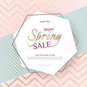 Poster Spring Sale Elegant Golden Specks Zigzag Pink Background Luxury Card Poster For Advertising S poster