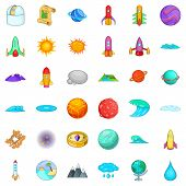Universe Icons Set. Cartoon Style Of 36 Universe Icons For Web Isolated On White Background poster