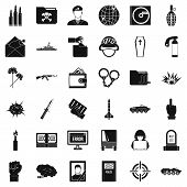 War Icons Set. Simple Style Of 36 War Icons For Web Isolated On White Background poster