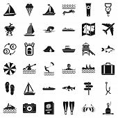Water Creation Icons Set. Simple Style Of 36 Water Creation Icons For Web Isolated On White Backgrou poster