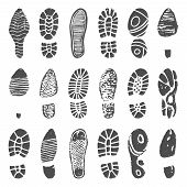 Shoes Footprint Silhouette. Sneaker Shoes Step, Walking Boot Shoe Steps Imprint And Man Feet Boots I poster